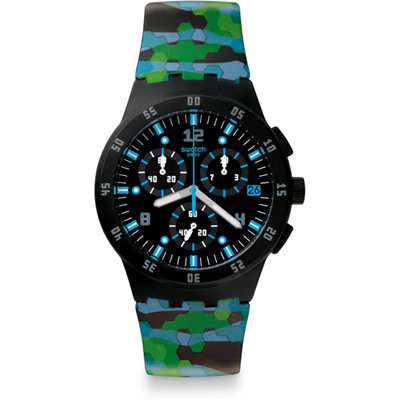 Swatch - Urban Jungle SUSB403 - Polshorloge - 42 mm - Groen/Zwart