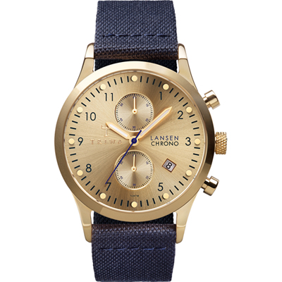 Triwa Gold Lansen Chrono Navy Classic Canvas - Polshorloge - Blauw Canvas/Leer Band