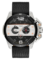 DZ4361 Ironside - Biker 48mm Stalen herenchrono met zwartleren band
