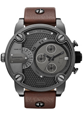 DZ7258 Little Daddy 51mm XL Donkergrijze Dual Time Chrono, Bruine Band