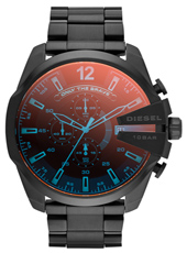 DZ4318 Mega Chief 52mm Zwarte XL Chrono met Iriserend Glas, Stalen Band
