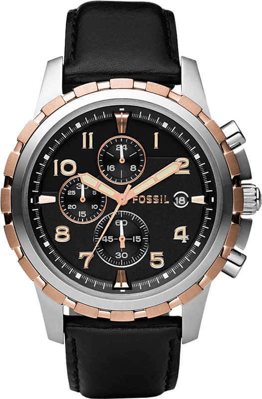 Fossil Dean  Black, Steel & Rose Chrono, Leather Strap