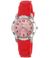 KQ30Q419 Sporty  Staal & Rood Kinderhorloge met Rubber Band