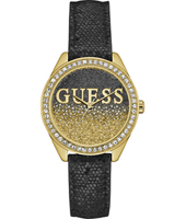 W0823L6 Glitter Girl 36mm Goud dameshorloge met leren band