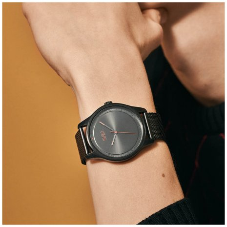Minimalistisch herenhorloge met mesh band Herfst / Winter Collectie Hugo