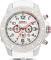 KYM-001-55 Chrono Silver Dice 55mm XL witte chronograaf duiker