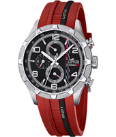 15881/2 L 43.50mm Zwart & Staal Motorsport Chrono op Rood Rubber Band