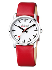 A400.30351.11SBC Simply Elegant Rood Zwitsers design horloge