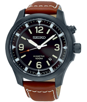 SKA691P1  44mm Zwart kinetic herenhorloge met bruinleren band