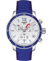 T0954491703700 Quickster 42mm Blauw & Witte Voetbal Chronograaf