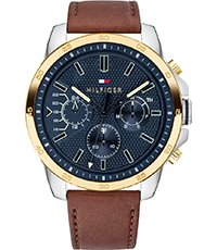 te koop website voor korting nieuwe producten Decker 46mm Blauw-goud herenhorloge met dag-datum